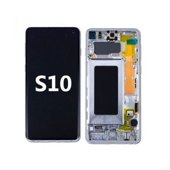 LCD Assembly with frame for Samsung Galaxy S10 (Silve)