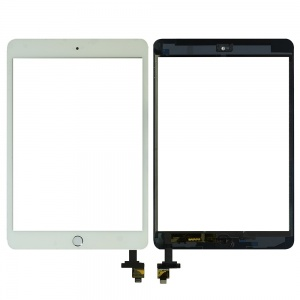 Digitizer with IC Chip & Plain Home Button Assembly (Premium Quality) (White) For iPad Mini