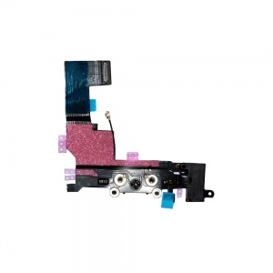 Charging Port Flex Cable (Black) For iPhone 5S