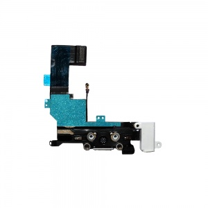 Charging Port Flex Cable (White) For iPhone 5S