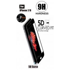 Tempered Glass For iPhone 7 - 5D Curve (Black)