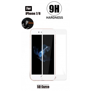 Tempered Glass For iPhone 8 - 5D Curve (White)