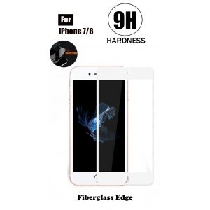 Tempered Glass For iPhone 7 - Fiberglass Edge (White)
