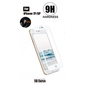 Tempered Glass For iPhone 8 Plus - Fiberglass Edge (White)