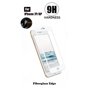 Tempered Glass For iPhone 7 Plus - Fiberglass Edge (White)
