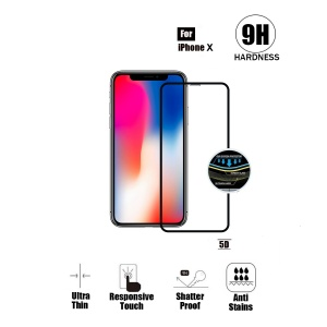 Tempered Glass For iPhone X (5.8 inch) - 5D Curve (Black)