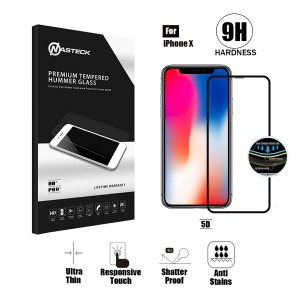 Tempered Glass For iPhone X (5.8 inch) in Retail Packaging - 5D Curve (Black)