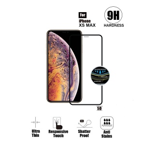 Tempered Glass For iPhone XS MAX (6.5 inch) - 5D Curve (Black)