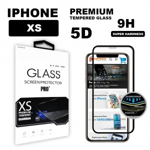 Tempered Glass For iPhone XS (5.8 inch) in Retail Packaging - 5D Curve (Black)