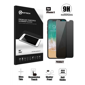 Tempered Glass in Retail Packaging - Privacy For iPhone X (5.8 inch)