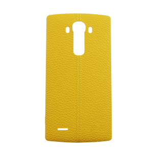 Genuine Leather Rear Battery Cover with NFC Antenna For LG G4 (Yellow)
