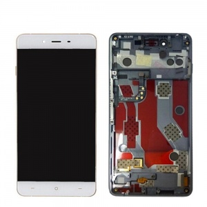 Display Assembly with Frame - White/Gold For OnePlus X