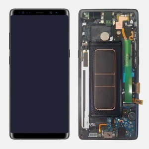 Display Assembly with Frame - Midnight Black For Samsung Galaxy Note 8 (Service Pack)